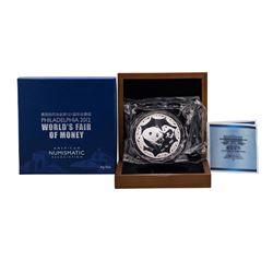 2012 Philadelphia World's Fair of Money 5 oz. Silver Panda Coin w/ Box & COA