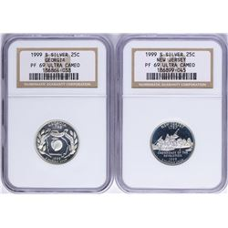 Lot of (2) 1999-S Georgia & New Jersey Silver Quarter Coins NGC PF69 Ultra Cameo