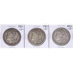 Lot of (3) 1901-O $1 Morgan Silver Dollar Coins