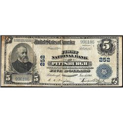 1902PB $5 First National Bank of Pittsburgh, PA CH# 252 National Currency Note