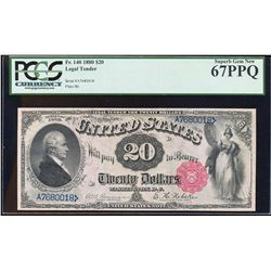 FINEST KNOWN 1880 $20 Legal Tender Note Fr.140 PCGS Superb Gem New 67PPQ