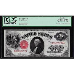 1917 $1 Legal Tender Note Fr.39 PCGS Gem New 65PPQ