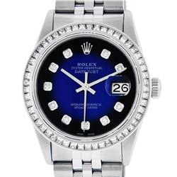 Rolex Men's Stainless Steel Blue Vignette Princess Cut Diamond Datejust Wristwat