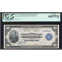 1915 $10 Plate Engraved Signatures Federal Reserve Bank Note PCGS Gem New 66PPQ