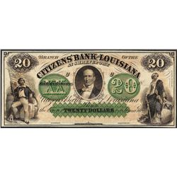 1800's $20 Citizens Bank of Louisiana Obsolete Note