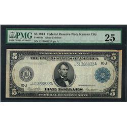 1914 $5 Federal Reserve Note Kansas City Fr.883a PMG Very Fine 25