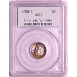 1950-S Roosevelt Dime Coin PCGS MS65 Amazing Toning