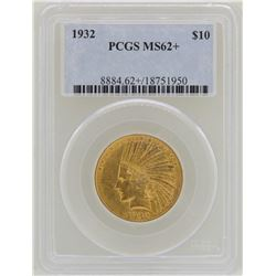 1932 $10 Indian Head Eagle Gold Coin PCGS MS62+