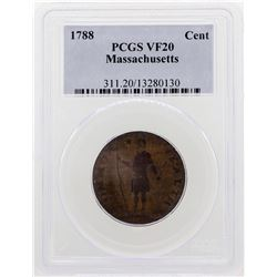 1788 Massachusetts Colonial Copper Cent Coin PCGS VF20
