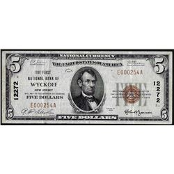 1929 $5 Wyckoff, NJ National Currency Note CH# 12272