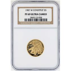 1987-W $5 Constitution Commemorative Gold Coin NGC PF69 Ultra Cameo