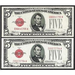 Lot of 1928E & 1928F $5 Legal Tender Notes