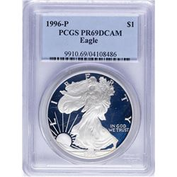 1996-P $1 American Silver Eagle Proof Coin PCGS PR69DCAM