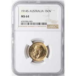 1914S Australia Sovereign Gold Coin NGC MS64