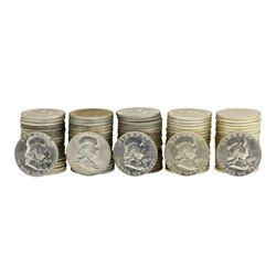 Lot of (5) Rolls of (20) 1963-D Brilliant Uncirculated Franklin Half Dollars