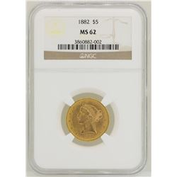 1882 $5 Liberty Head Half Eagle Gold Coin NGC MS62