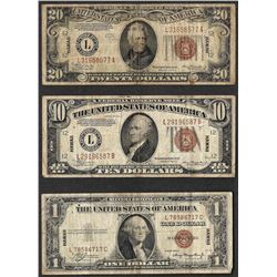 Lot of 1935A $1 & 1934A $10/$20 Silver Certificate WWII Emergency Hawaii Note