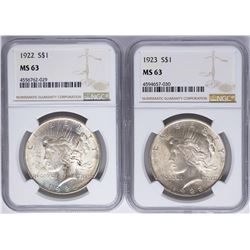 Lot of 1922-1923 $1 Peace Silver Dollar Coins NGC MS63