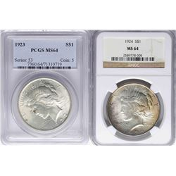 Lot of 1923 & 1924 $1 Peace Silver Dollar Coins PCGS/NGC MS64