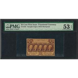 1862 25 Cent First Issue Fractional Currency Note Fr.1281 PMG About Uncirculated