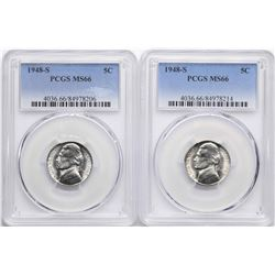Lot of (2) 1948-S Jefferson Nickel Coins PCGS MS66
