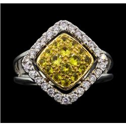 14KT Two Tone Gold 0.52 ctw Yellow Sapphire and Diamond Ring