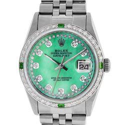 Rolex Men's Stainless Steel Green Mother Of Pearl Diamond Datejust Wristwatch