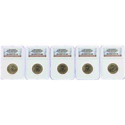 Lot of (5) 2007-P George Washington Presidential Dollar Coins NGC BU FDOI