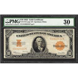 1922 $10 Gold Certificate Note Fr.1173 Large S/N PMG Very Fine 30