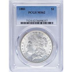 1881 $1 Morgan Silver Dollar Coin PCGS MS62