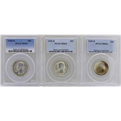 Lot of (3) 1949-D Washington Quarter Coins PCGS MS64