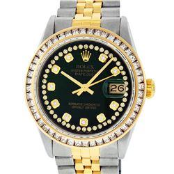 Rolex Mens Two Tone 14K Green String Princess Cut Diamond Datejust Watch