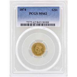 1874 $1 Indian Princess Head Gold Dollar Coin PCGS MS62