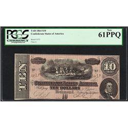 1864 $10 Confederate States of America Note T-68 PCGS New 61PPQ