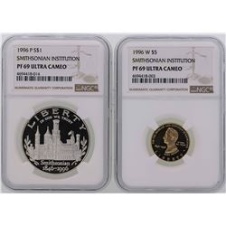 1996-P $1 Silver Coin & 1996-W $5 Gold Coin Smithsonian Institution NGC PF69 Ult