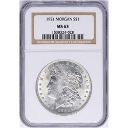 1921 $1 Morgan Silver Dollar Coin NGC MS63