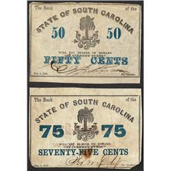 Lot of 1863 Fifty & Seventy-Five Cent State of North Carolina Obsolete Notes