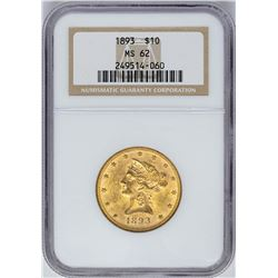 1893 $10 Liberty Head Eagle Gold Coin NGC MS62
