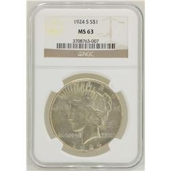 1924-S $1 Peace Silver Dollar Coin NGC MS63
