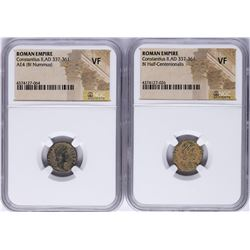 Lot of (2) Constantius II A.D 337-361 Ancient Roman Empire Coins NGC  VF