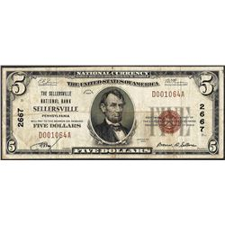 1929 $5 NB of Sellersville, Pennsylvania CH# 2667 National Currency Note