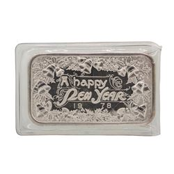1978 A Happy New Year Madison Mint 1 oz .999 Fine Silver Art Bar