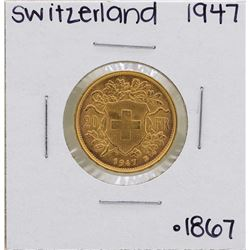 1947-B Switzerland 20 Francs Gold Coin