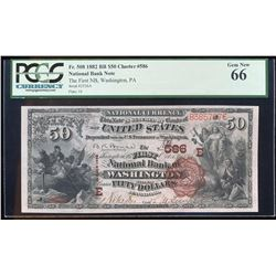 1882 $50 BB First NB of Washington, PA CH# 586 National Currency Note PCGS Gem N