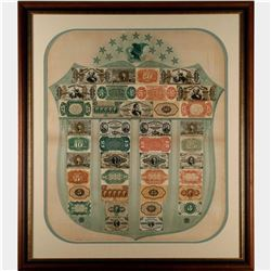 Rare Framed Green Fractional Currency Shield Fr.1383-a