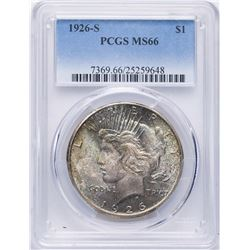 1926-S $1 Peace Silver Dollar Coin PCGS MS66
