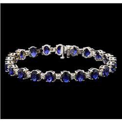 14KT White Gold 15.12 ctw Sapphire and Diamond Bracelet
