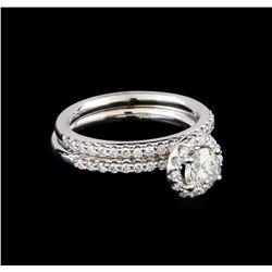 1.15 ctw Diamond Wedding Ring Set - 14KT White Gold