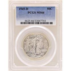 1945-D Walking Liberty Half Dollar Coin PCGS MS66