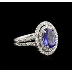 2.22 ctw Tanzanite and Diamond Ring - 14KT White Gold